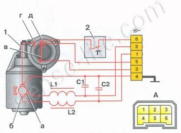 Схема двухскоростного моторедуктора стеклоочистителя ветрового стекла
