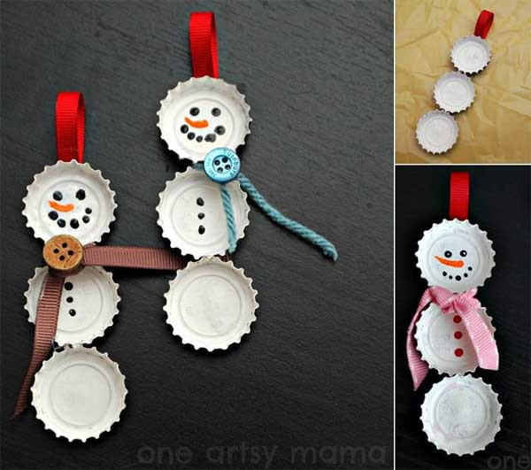 елочное украшение снеговик своими руками