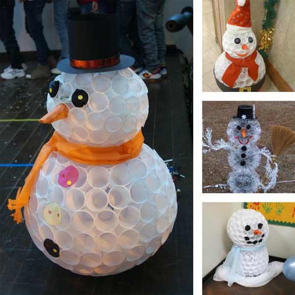 снеговик из пластиковых стаканчиков своими руакми