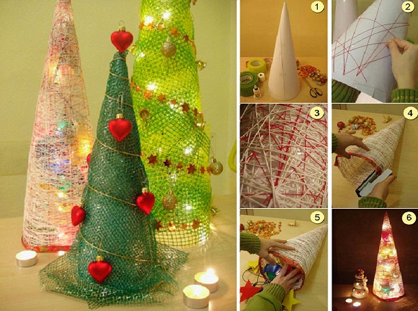 елка из ниток и декоративной сетки