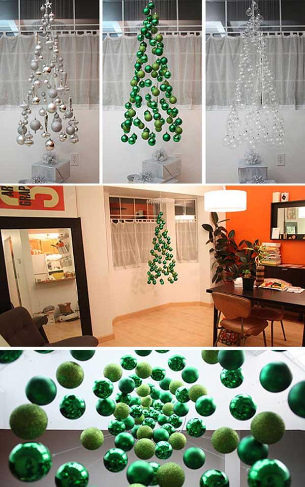 креативная елка из елочных шаров